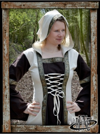 Medieval Dress Eleanor with hood, brown/natural
