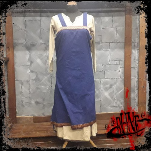 Canvas apron Swann blue