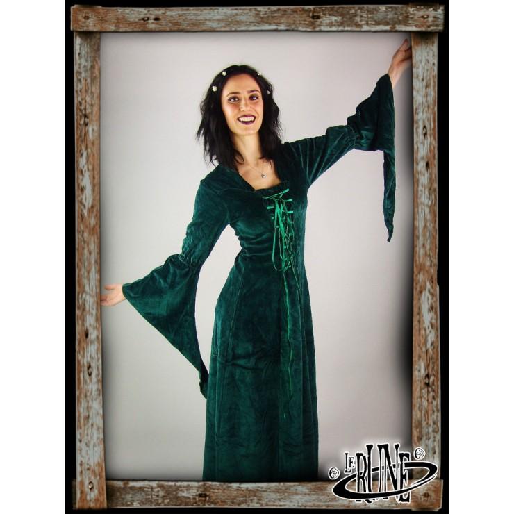 Velvet dress Circe green