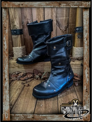 George Reinforced Boots - Black leather