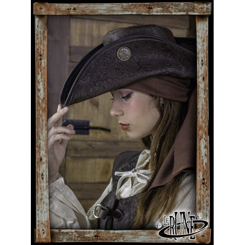 Deluxe Three Doublons Tricorne hat - Brown