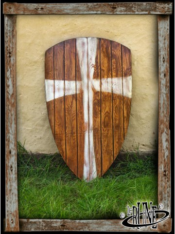 Crusader shield - Wood/White (90x60)