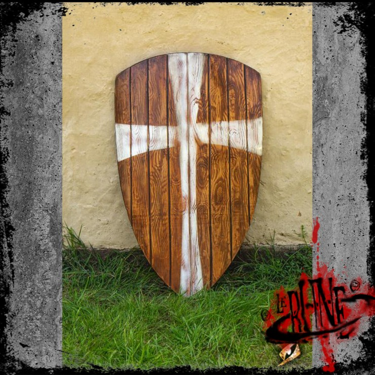 Crusader shield - Wood/White (90x60)