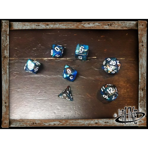 Dices set for RPG (7) - Blue/Orange Galaxy