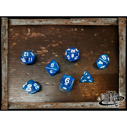 Dices set for RPG (7) - Blue Glitter