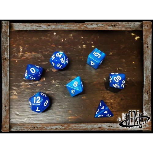 Dices set for RPG (7) - Blue Glitter (Opaque)