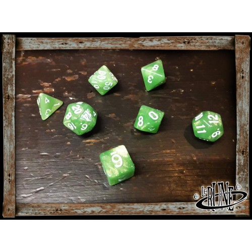 Dices set for RPG (7) - Green Glitter (Opaque)