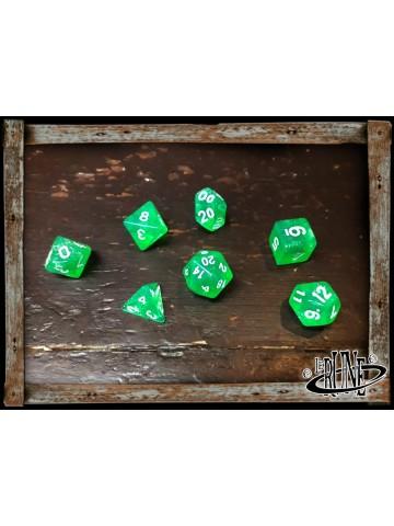 Dices set for RPG (7) - Green Glitter