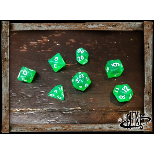Dices set for RPG (7) - Green Glitter