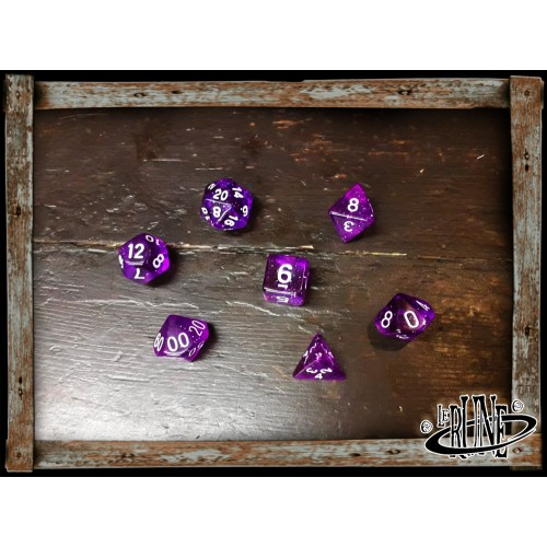 Dices set for RPG (7) - Purple Glitter