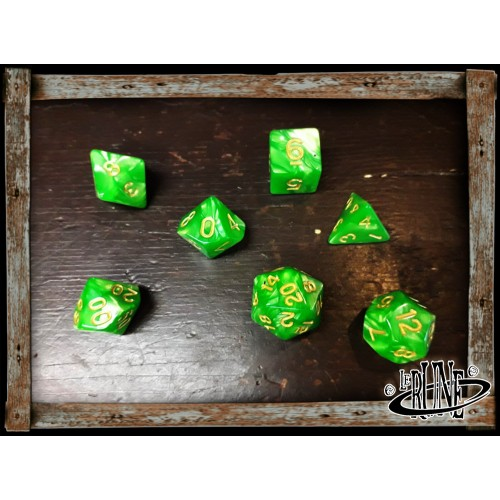Dices set for RPG (7) - Lime Marble