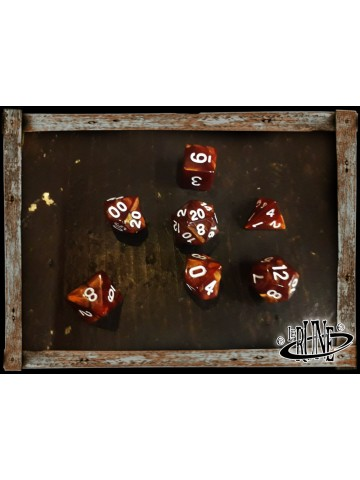 Dices set for RPG (7) - Brown Marble