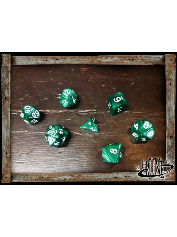 Dices set for RPG (7) - Green Dark Marble