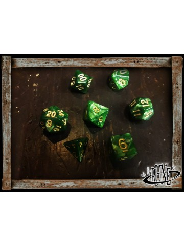 Dices set for RPG (7) - Green Marble