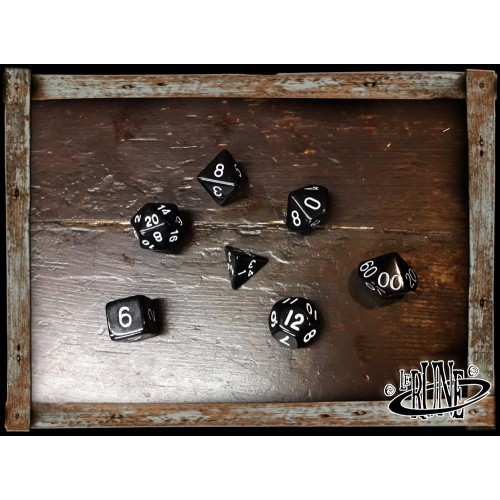 Dices set for RPG (7) - Black w. White numbers Opaque