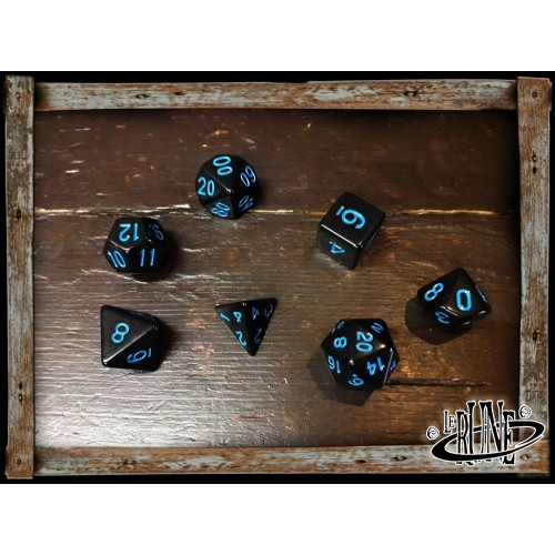 Dices set for RPG (7) - Black w. Blue numbers Opaque
