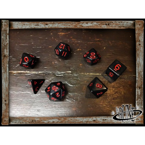 Dices set for RPG (7) - Black w. Red numbers Opaque