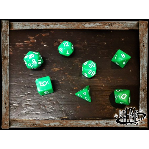 Dices set for RPG (7) - Green Opaque