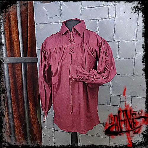 Cotton shirt Elias Wine Red