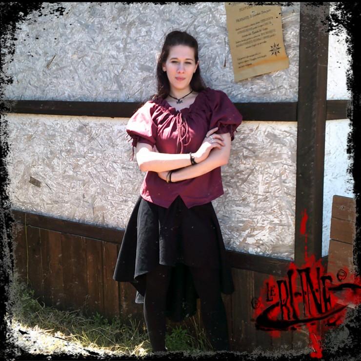 Cotton blouse Julia wine red